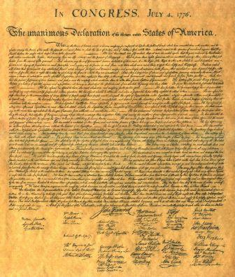 The American Declaration of Independence, signed July 4, 1776.