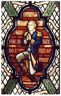 Praying Washington window in House Chappel