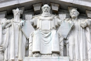 Moses with Commanmdments, on rear upper facia outside Supreme Court building