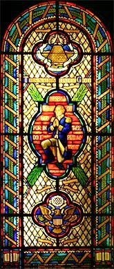 Praying Washington window in House Chappel